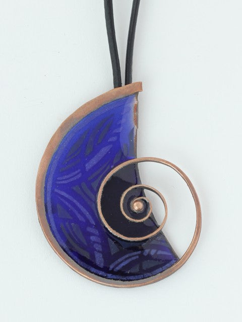 Large, Dark Blue Enamel On Copper Necklace With Snail Design
