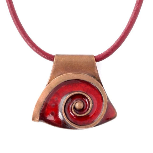 Fiery Red Enamel Necklace With Snail Design