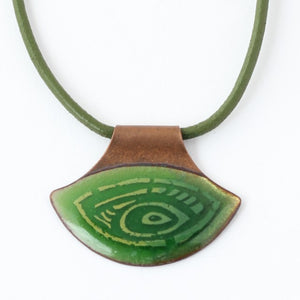 Eye Shape, Forest Green Enamel On Copper Necklace