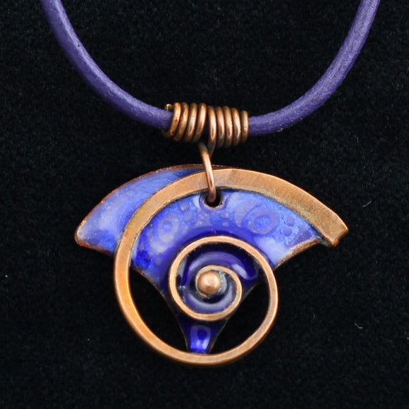 Dark Blue Enamel Necklace With Snail Pattern