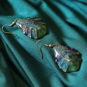 Blue And Turquoise Drop Shape Enamel Earrings