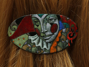 Enamel on Copper Hairgrip With Detailed Face Shape