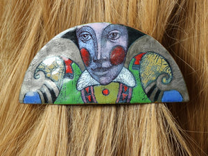 Enamel on Copper Hairgrip With Detailed Face and Red Cheeks