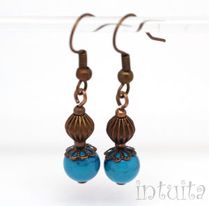 Blue Agate Earrings with Bronze Beads and Hooks