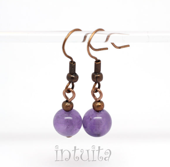 Amethyst Earrings with Bronze Hooks