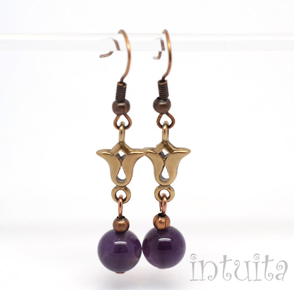 Bronze Tulip Earrings With Amethyst Beads