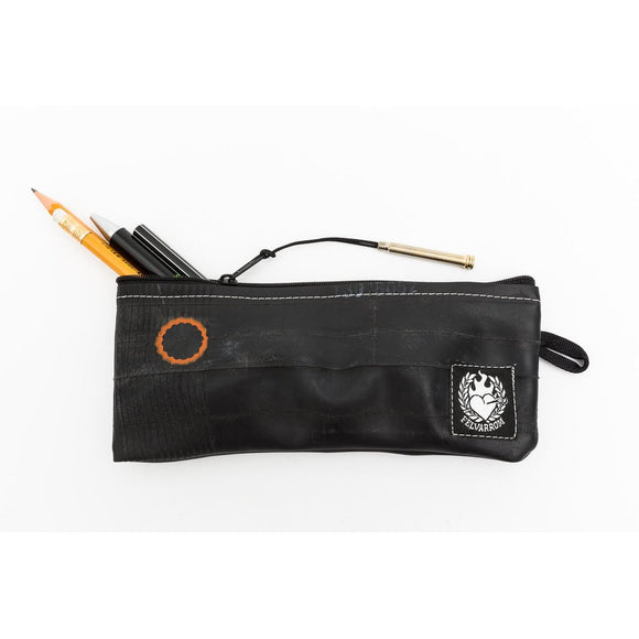 Recycled and Upcycled Bicycle Tire Pencil Case With Black Zippers