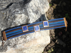 Dark Blue And Black Leather Bracelet With Enamel Design