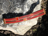 Red Leather Bracelet With Enamel Design