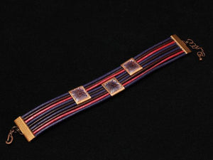 Purple Leather Bracelet With Enamel Design