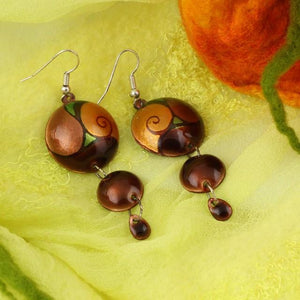 3 Dot Design Long Brown Enamel Dangle Earrings With Tendrils