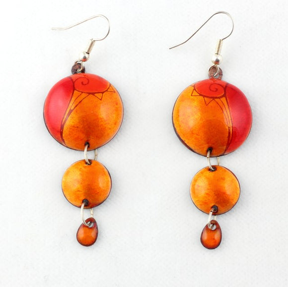 3 Dot Design Juicy Orange and Red Long Enamel Dangle Earrings