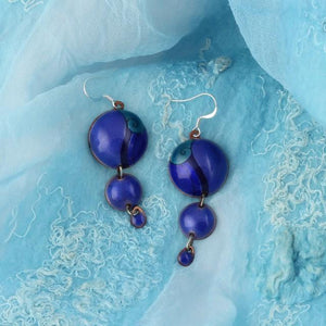 3 Dot Design Royal Blue Long Enamel Dangle Earrings