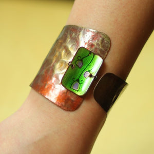 Copper Bracelet Decorated With Green Enamel
