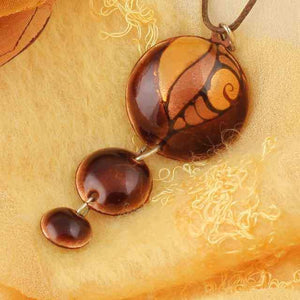 3 Dot Design Long Brown Enamel Pendant with Fantasy Pattern