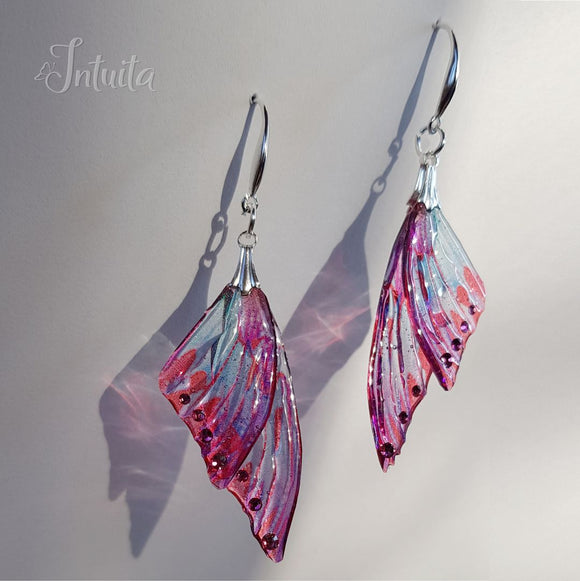 Water Blue and Cyclamen Fairy Butterfly Wing Earrings