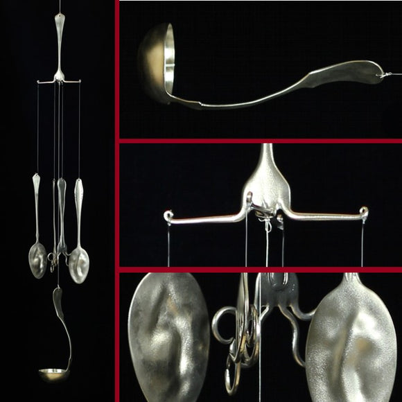 Recycled Cutlery Windchimes With Ladle Candle-holder