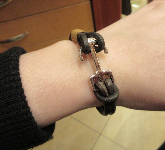 Brown Color Double Band Leather Bracelet With a Silver Color Anchor For Men