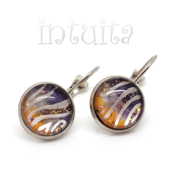 Small Purple And Orange Handpainted Glass Dangle Earrings
