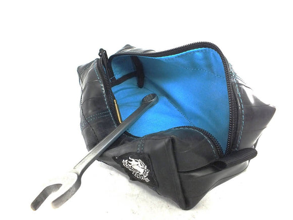 Size L Recycled and Upcycled Bicycle Inner Tube Tool Case With Blue Interior