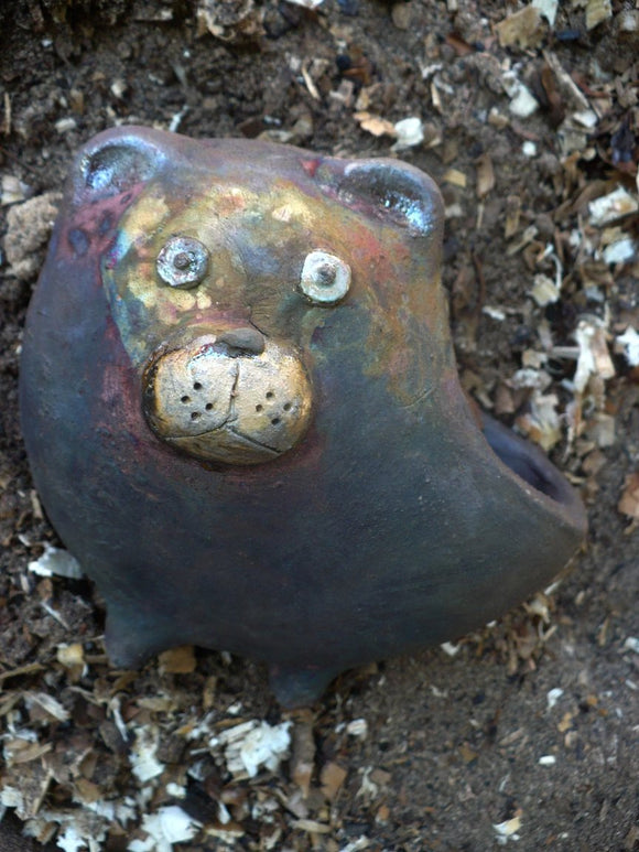 Raku Ceramic Bear Flower Pot