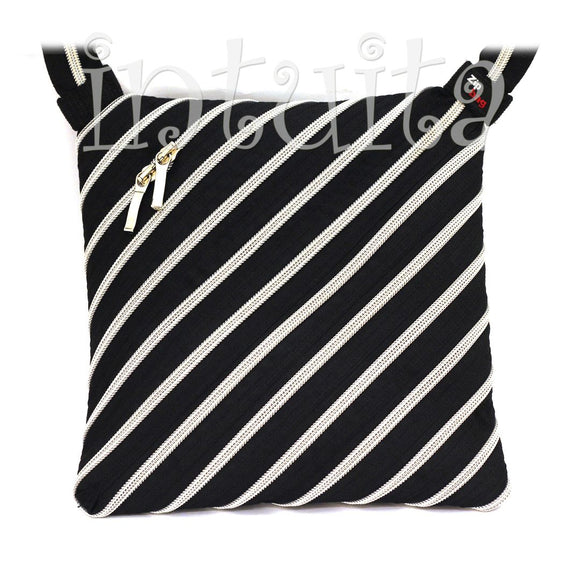 black and silver zip bag