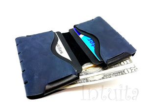Very Dark Blue Seamless Leather Wallet For Men