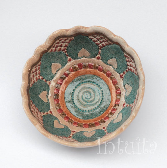 Autumn Leaf Design Blue and Beige Color Gilded Mosaic Ceramic Bowl