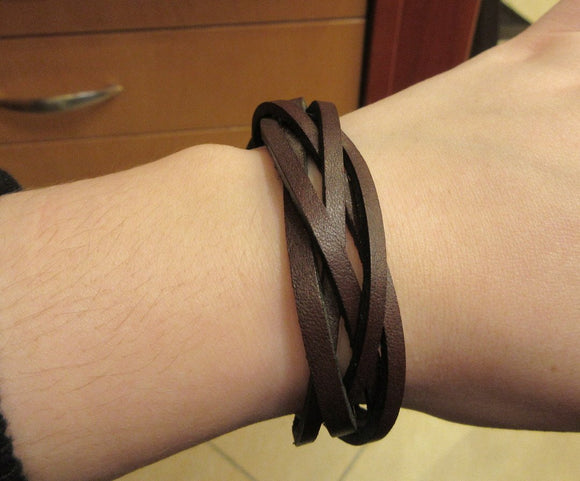 Brown Color Leather Bundle Design Band Bracelet with For Men