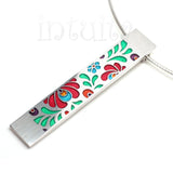 High Fashion Style Matyo Design Colorful Plexiglas and Sterling Silver Necklace