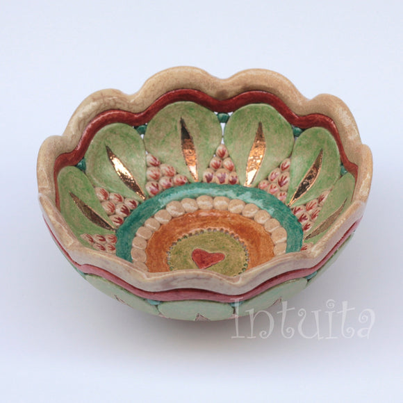 Small Flat Green, Orange, Claret and Beige Color Gilded Mosaic Ceramic Bowl