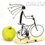Gliding Girl With Bicycle Wire Figurine