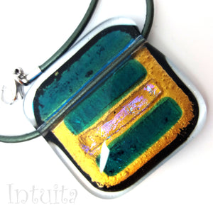 Dark Green Square Shape Fused Glass Necklace with Dichroic