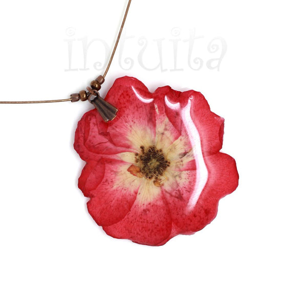 Dark Pink Pressed Real Flower Pendant
