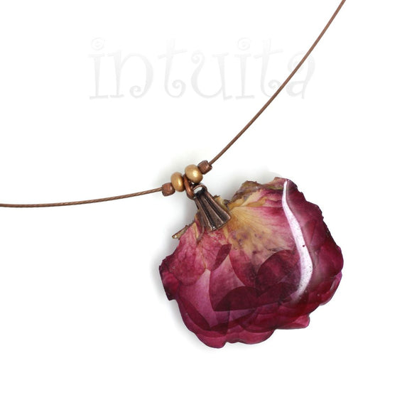 Warm Purple Pressed Real Flower Pendant