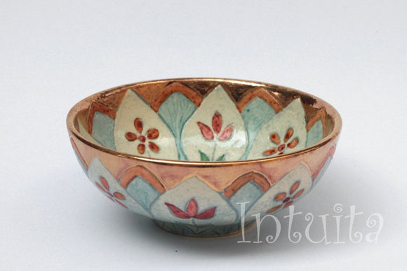 Sky Blue and White Color Etched Small Ceramic Bowl With Wild Flower Design