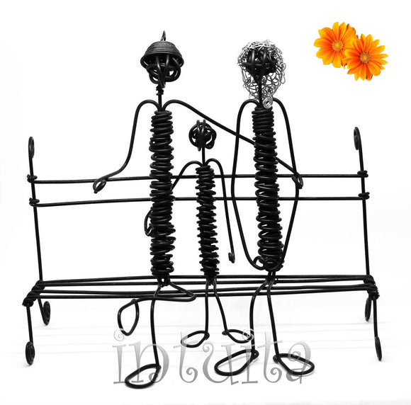 Family Sitting On A Bench - Mother Father and Child - Wire Figurine