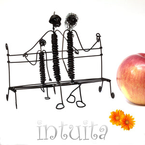 Family Sitting On A Bench Wire Figurine