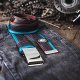 Recycled Bicycle Inner Tube Belt With Blue and Chocolate Brown Edges