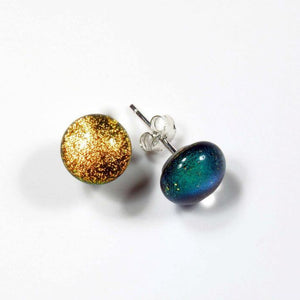 Gold Color Dichroic Glass Stud Earrings