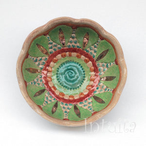 Mandala Leaf Design Forest Green, Terracotta Red and Beige Color Gilded Mosaic Ceramic Bowl