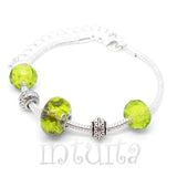 Green Color Real Dried Glixia Flower Charm Bracelet