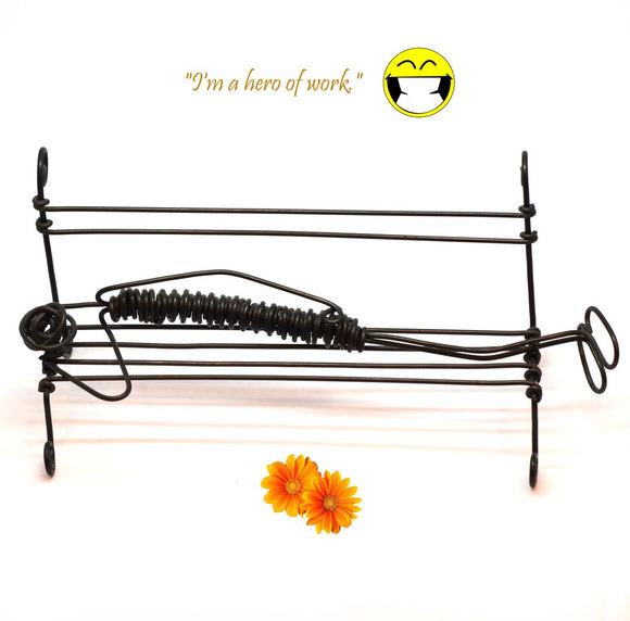Sleeping On The Bench Wire Figurine