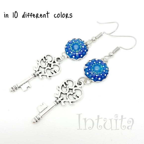Glow-in-the-dark Dot Painted Glass Earrings With Key Charm