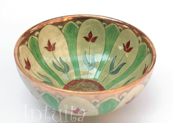 Kiwi Green Color Gilded Etched Small Ceramic Bowl With Wild Flower Design