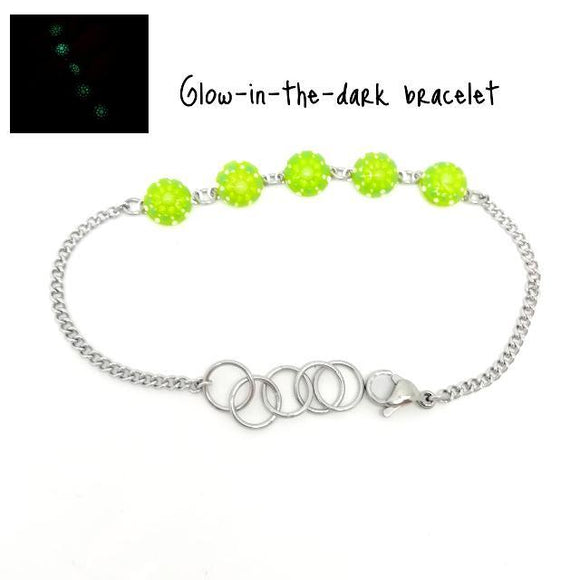Dainty Grass Green Color Glow-in-the-dark Dot Painted Bracelet