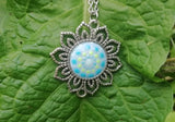 Glow-in-the-dark Dot Painted Light Blue Mandala Sunflower Pendant