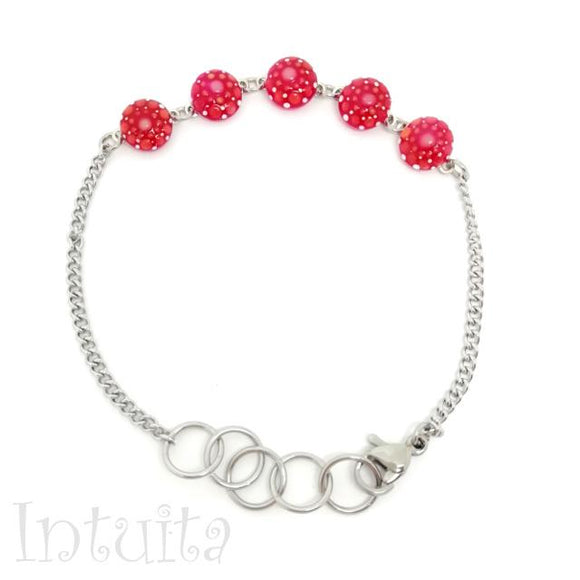 Dainty Magenta Color Glow-in-the-dark Dot Painted Bracelet