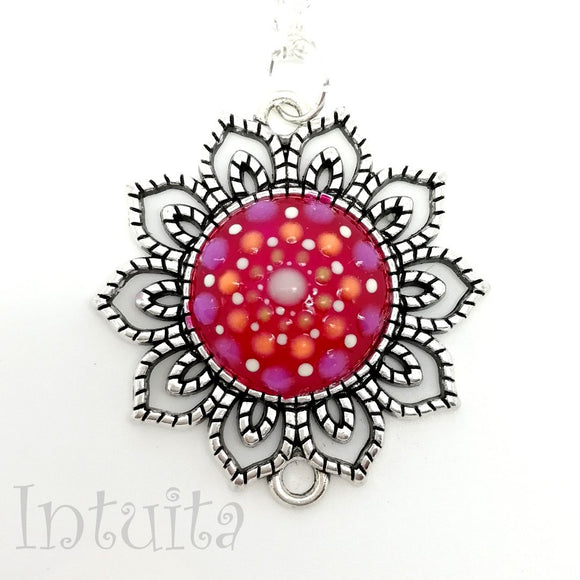 Glow-in-the-dark Dot Painted Magenta Mandala Sunflower Pendant