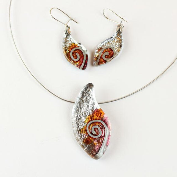 Orange, Lilac and Silver Color Tounge Of Flame Shape Fused Glass Jewel Set